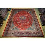 10x13 Authentic Hand Knotted Semi-antique Wool Rug Red B-74667