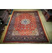 10x14 Authentic Hand Knotted Semi-antique Wool Rug Red B-74727