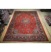 10x14 Authentic Hand Knotted Semi-antique Wool Rug Red B-74794
