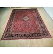 10x13 Authentic Hand Knotted Semi-antique Wool Rug Red B-73022