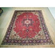 10x12 Authentic Hand Knotted Semi-antique Wool Rug Red B-72877