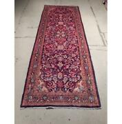 4x11 Hand Knotted Semi-antique Mahal Wool Runner Red B-72904