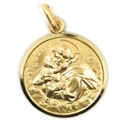 18k Yellow Gold St Saint Anthony Padua Sant Antonio Medal Made In Italy 21 Mm
