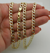 Hollow 14k Two Tone Gold Diamond Cut Curb Style Chain Necklace 22 Lg 9.4 Gr
