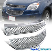 For 2010-2015 Chevy 10-15 Equinox Sliver Mesh Bumper Grille Grill Upper Lower
