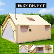 Canvas Wall Tent Wall Tent 10x12/12x14/14x16ft Fire Water Repellent 6-12 People