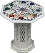 18 Table Top With 16 Stand Made From Marble And Multi Stone Floral Inlay W472