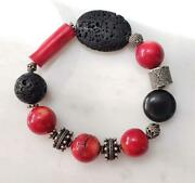 Sterling Silver Red Coral And Lava Rock Beaded Flex Bracelet 47.0 G Ss-486