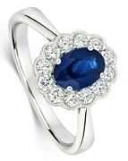Sapphire And Diamond Ring 18k White Gold Cluster Halo Certificate Size J-q