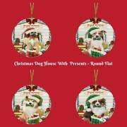 Christmas Dog Cat With Presents Round Flat Christmas Tree Ornament Gift
