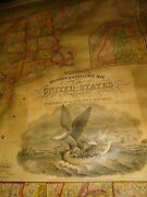 Antique Samuel Augustus Mitchell's Map Of The United States, 1835 Huge Wall Map