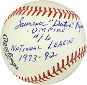 Lawrence Dutch Rennert Autographed Mlb Baseball Umpire Statball Psa/dna F61136