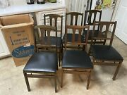 Set Of 6 Mcm Vintage Stakmore Dining Room Folding Chairs Mid Century Modern