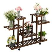 4 Tier Wood Plant Stand 12 Potted Flower Pots Plant Organizer Shelf Display Rack