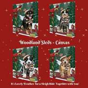 Christmas Woodland Sled Dog Cat Pet Lovers Canvas Wall Art Décor 16x20 In