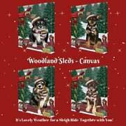 Christmas Woodland Sled Dog Cat Pet Lovers Canvas Wall Art Décor 24x36 In