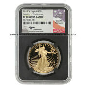 2018-w 50 Eagle Ngc Pf70ucam First Day Of Issue Fdoi Gold 1oz Coin W/ Mercanti