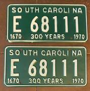 South Carolina 300 Years 1970 Mint Gorgeous License Plate Pair-superb E 68111