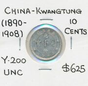 China Kwangtung 1890-1908 10 Cents Y-200 Unc Scarce In High Grade