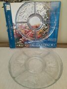 5 Part Divided Crystal Garden Relish Serving Tray Colony Crafts 12 Diameter
