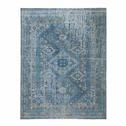9and039x12and039 Denim Blue Textured Worn Wool Sheeraz Hand Knotted Rug R58430