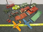 Lot Of Tootsie Toy Cars Army Truck Jeeps Airplanes Fire Trucks Howitzer Gas Pump