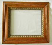 Antique Beautiful Golden Oak And Ornate Gesso Picture Frame 9 5/8 X 11 5/8 Open