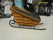 1997 Longaberger Large Sleigh Basket Combo With Wrought Iron Runner
