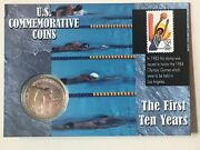 1983 D Olympic Beautiful Silver One Dollar Discus Thrower On Card With Stamp