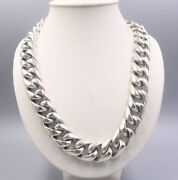 New 925 Sterling Silver 20mm Wider Curb Link Chain Necklace 24inches For Men