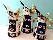 Antique Collectible Jug Pitchers Imari Pattern Hand Painted Gilded Lizard Handle