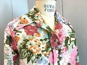 Vintage 1970and039s Floral Shirt With Unusual Eyelet Fabric Size Med Excellent Cond