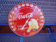 Vintage Round 12 Drink Coca-cola Delicious And Refreshing Advertise Thermometer