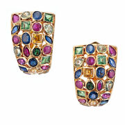 Sapphire Ruby Emerald Gold Clip Post Cluster Earrings