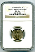2005 Canada 5 Cent Ngc Ms68 Ve-day 60th Anniversary Victory V Nickel Wwii Rare