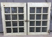 Pair Of Antique Salvaged 12 Lite Glass Window Or Cabinet Doors 19 X 27