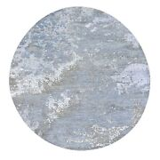 8and0393x8and0393 Gray Round Abstract Design Wool And Silk Hand Knotted Rug R59317
