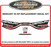 1998 1999 Mercury 50 Hp Four Stroke Replacement Outboard Decal Set