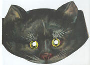 Great Ca1900 Lithograph Halloween Black Cat Mask Excellent Antique
