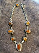 Seven Stone Amber Necklace Set In Sterlng Silver By Richard Yellowhorse