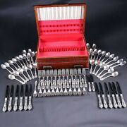 Polished Lunt Eloquence Sterling Silver 74 Pc Flatware Set For 12 +chest No Mono