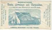 1899 Memphis, Tn Machine Cancel On Ad Cover For Tents, Awnings And Tarpaulins