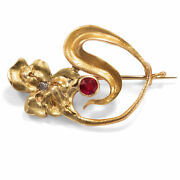 Moscow Um 1900 Antique Art Nouveau Brooch From 56 Gold Spinel And Diamond Russia