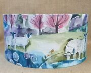 Country Voyage Buttermere Sweet Pea Sheep Drum Lampshade Countryside 35 40cm