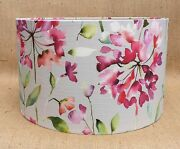 New Voyage Drum Lampshade Clovelly Pink Grey Floral Fabric Raspberry 15cm - 40cm