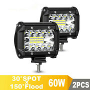 2x Led Work Light Flood Light Offroad Driving Suv Boat Tractor /spot 60w 12v