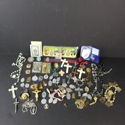 Assorted Religious Lot Jewelry Medals Rosary Cross Bracelets Relics Most Vintage