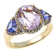 10k Solid Yellow Gold 3.87ctw Pink Kunzite And Gemstone Ring Size 7 - Hsn