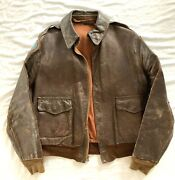 Ww Ii U.s. Air Corps A2 Cbi Leather Jacket With Painted Leather Patches And Scarf