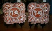 Rare Pair C1820 Herculaneum Pottery Liverpool Red Greek Pattern Scalloped Bowls